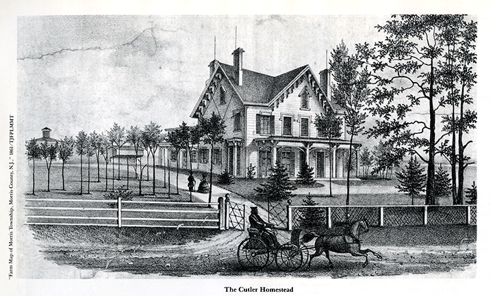 Drawing of the Cutler Homestead circa 1861