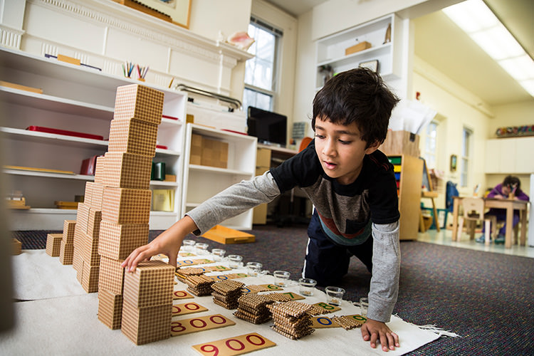 Red Oaks School Montessori Math Student